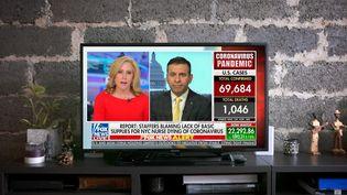 La chaîne américaine Fox News, le 26 mars 2020. (DAVID HIMBERT / HANS LUCAS / AFP)