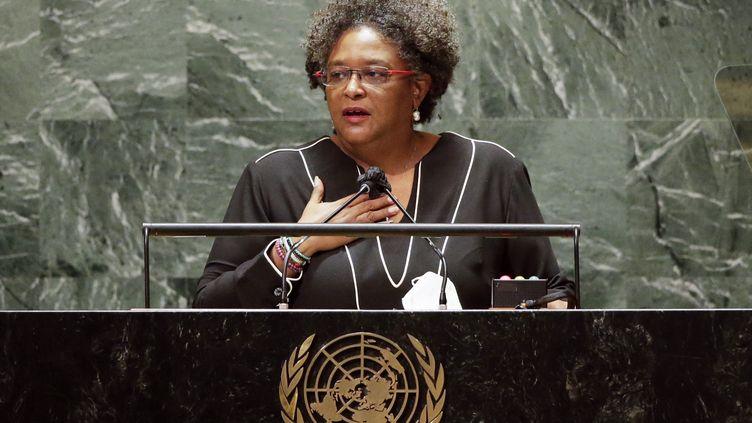 Mia Mottey, Premier ministre de La Barbade à la tribune de l'Organisation des nations unies, (l'ONU), le 24 septembre 2021. (POOL / GETTY IMAGES NORTH AMERICA)