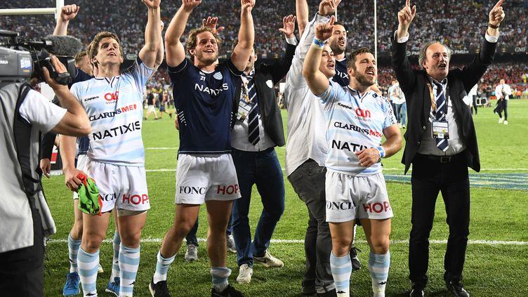 La joie des Racingmen après leur titre de champion de France (DAMIEN MEYER / AFP)