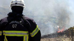 Un pompier en exercice incendie, en avril, en Rhône-Alpes, pour préparer la saison des feux d'été (2018). (FABRICE HEBRARD / MAXPPP)