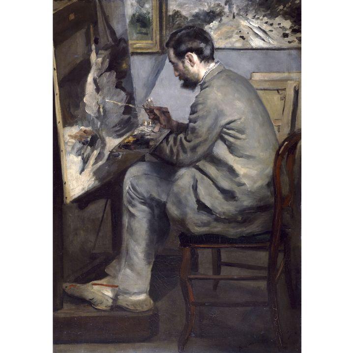 """Auguste Renoir, """"Frédéric Bazille peignant 'Le héron aux ailes déployées'"""", 1867, Paris, Musée d'Orsay, en dépôt au musée Fabre, Montpellier, legs de Marc Bazille, 1924  ( Photo Musée d'Orsay, Dist. RMN-Grand Palais / Patrice Schmidt)"""