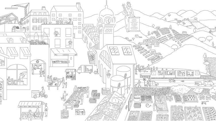 La fresque de Julien Dossier etJohann Bertrand d'Hy pour représenter une ville et une campagne durables. (JULIEN DOSSIER, JOHANN BERTRAND D'HY / RENAISSANCE ECOLOGIQUE)