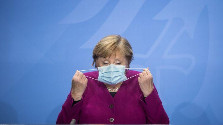 La chancelière allemande Angela Merkel le 14 octobre 2020. (STEFANIE LOOS / AFP)