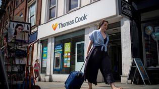 La compagnie britannique Thomas Cook, qui était la plus ancienne du monde, a annoncé être en faillite, le 23 septembre 2019. (TOLGA AKMEN / AFP)