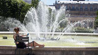 Une femme s'expose au soleil dans les jardins du Palais Royal à Paris, le 30 juin 2015. (CAROLINE GARDIN / AFP)