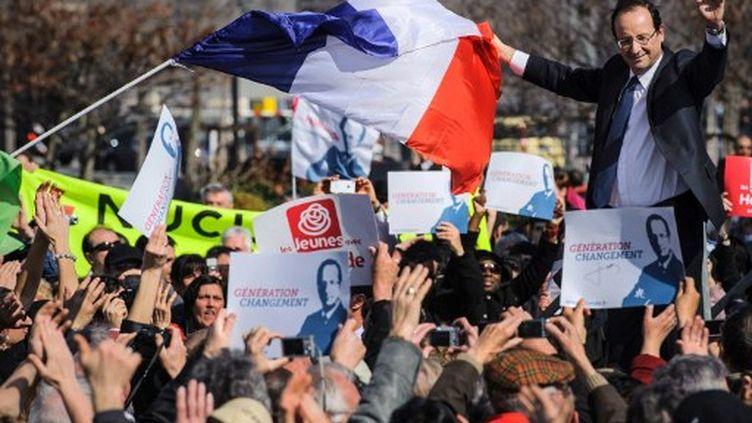François Hollande à Valence, en mars 2012. (JEAN-PHILIPPE KSIAZEK / AFP)