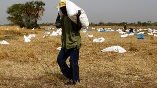 Un homme collecte des sacs de nourriture envoyés par le Programme alimentaire mondial, le 18 février 2017. (SIEGFRIED MODOLA / REUTERS)