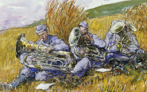 Musiciens jouant dans un champ en 1916 dans la Somme (par Jean-Louis Lefort (1875-1954) (AFP -The Picture Desk - The Art Archive)