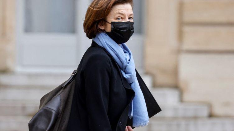 Florence Parly quitte le palais de l'Elysée (Paris), le 3 février 2021. (LUDOVIC MARIN / AFP)