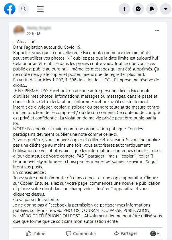 Message partagé sur Facebook (Septembre2020). (CAPTURE D'ÉCRAN FACEBOOK / FRANCE INFO)