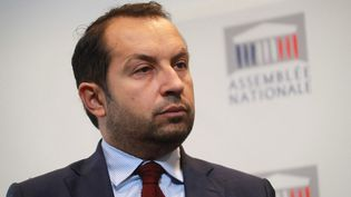 Sébastien Chenu, porte-parole du Rassemblement national, ex-Front national. (JACQUES DEMARTHON / AFP)