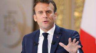 Le président de la République, Emmanuel Marcon, lors de sa conférence de presse à l'Elysée, le 25 avril 2019. (LUDOVIC MARIN / AFP)