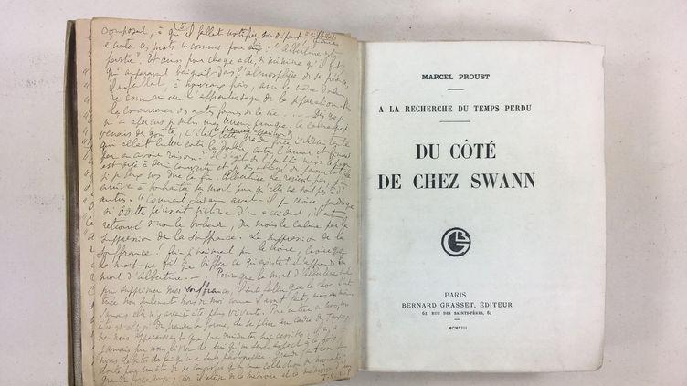 """Lettre-dédicace de Marcel Proust à Marie Scheikévitch en tête de son exemplaire de """"Du côté de chez Swann"""" (DR)"""