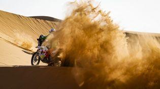 Pierre Cherpin, le 4 janvier 2021 lors de la 2e étape du Dakar entre Bisha et Wadi Al-Dawasir, en Arabie Saoudite. (JULIEN DELFOSSE / DPPI MEDIA / AFP)