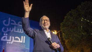 Le leader du parti d'inspiration islamiste Ennahdha, Rached Ghannouchi, candidat à Tunis, en campagne pour les législatives le 3 octobre 2019 (AFP - YASSINE GAIDI / ANADOLU AGENCY)