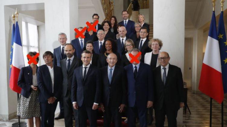 Sylvie Goulard,François Bayrou, Marielle de Sarnez et Richard Ferrand ne feront pas partie du deuxième gouvernement Philippe. (FRANCEINFO / AFP)