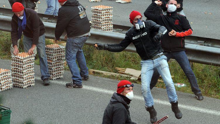 Des manifestants anti-écotaxe jettent des œufs sur les CRS, le 26 octobre 2013, à Pont-de-Buis (Finistère). (FRED TANNEAU / AFP)