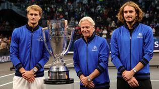 Alexander Zverev, Stefanos Tsitsipas et la Team Europe, menée par Bjorn Borg, remporte la 4e Laver Cup. (CARMEN MANDATO / GETTY IMAGES NORTH AMERICA)