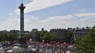 Lamanifestation contre la loi Travail, place de la Bastille, à Paris, jeudi 23 juin 2016. (ALAIN JOCARD / AFP)