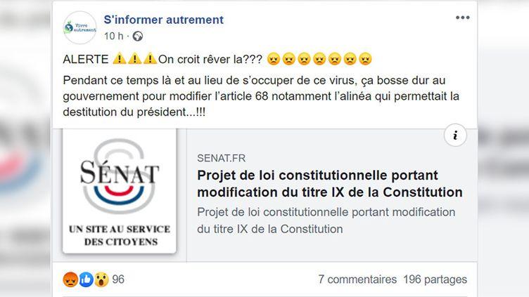 Une capture d'écran d'un post Facebook annonçant une réforme constitutionnelle. (CAPTURE ECRAN)