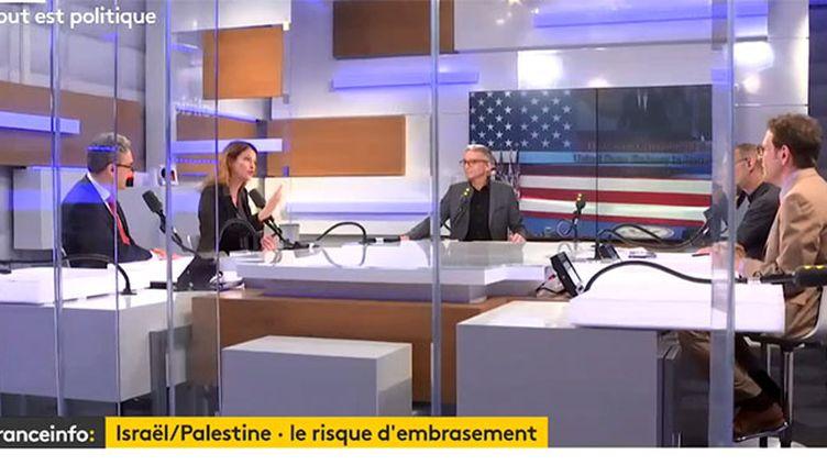 """AymericChauprade,JulietteMeadel et GillesLegendre, invités de """"Tout est politique"""" lundi 14 mai. Une émission présentée et animée par Jean-François Achilli etGillesBornstein. (FRANCEINFO)"""