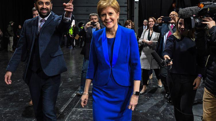 LaPremière ministre écossaise Nicola Sturgeonarrive au centre de dépouillement de Glasgow, le 13 décembre 2019. (ANDY BUCHANAN / AFP)