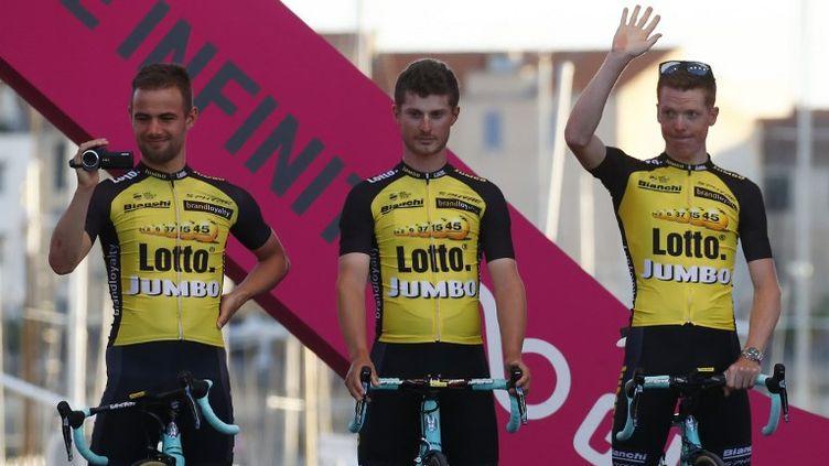 Enrico Battaglin, au centre, a remporté la 5e étape.  (LUK BENIES / AFP)