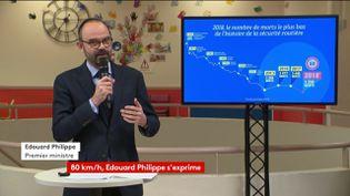 Edouard Philippe présente le nombre de morts sur la routependant l'année 2018, le 28 janvier 2019 à Coubert (Seine-et-Marne). (FRANCEINFO)