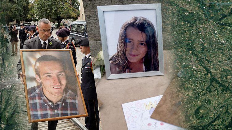 Les obsèques d'Arthur Noyer (à gauche), à Bourges (Cher), le 7 septembre 2018, et celles de Maëlys de Araujo, le 2 juin2018, àLa Tour-du-Pin (Isère). (AFP / FRANCE INFO / JESSICA KOMGUEN)