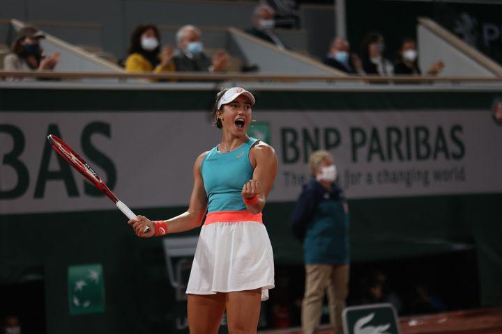 La joie de Caroline Garcia après sa qualification en 8e de finale