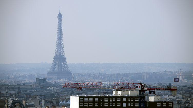 La tour Eiffel et le voile de pollution sur Paris,le 27 mars 2014. (LIONEL BONAVENTURE / AFP)