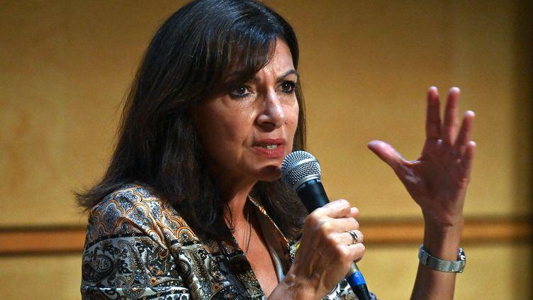 Anne Hidalgo s'exprime à Montpellier (Hérault) le 7 septembre 2021. (PASCAL GUYOT / AFP)