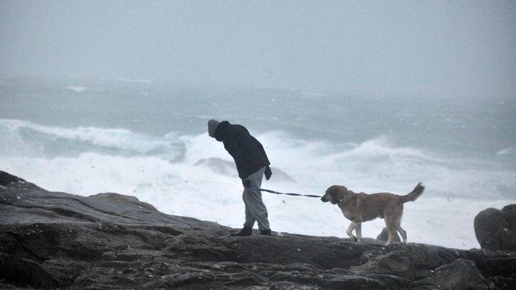 Un homme promène son chien à Saint-Guénolé, dans le Finistère, le 23 décembre 2013. (FRANK PERRY / AFP)