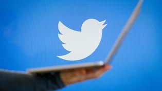 L'oiseau Twitter survole un ordinateur portable. (JAAP ARRIENS / NURPHOTO)