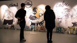 """Le festival de la bande dessinée d'Angoulême (Charente) présente l'exposition """"Une histoire de 'Charlie Hebdo'"""", le 28 janvier 2015. (PIERRE DUFFOUR / AFP)"""