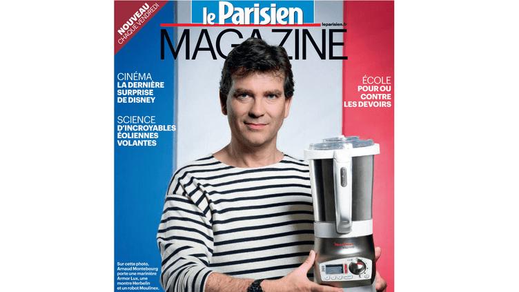 """Arnaud Montebourg porte une marinière, une montre et un robot fabriqués en France, dans """"Le Parisien Magazine"""" daté du vendredi 19 octobre. (LE PARISIEN / FTVI)"""