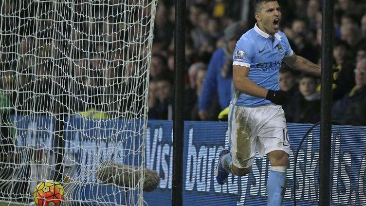 Sergio Agüero, l'attaquant argentin de Manchester City, après son but victorieux contre Watford (ADRIAN DENNIS / AFP)