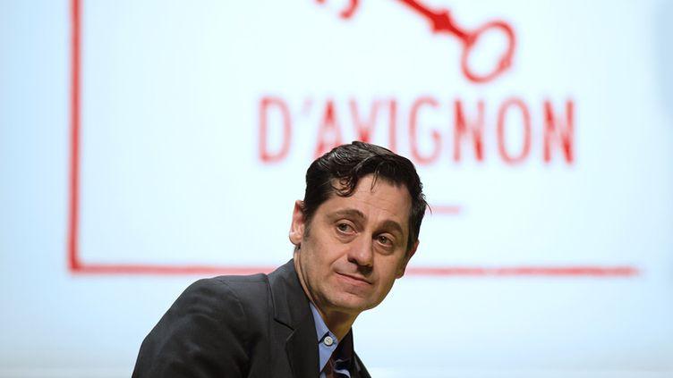 Olivier Py lors de la présentation du programme d'Avignon en mars 2014  (BERTRAND LANGLOIS / AFP)