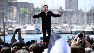 Jean-Luc Mélenchon lors de son meeting à Marseille, le 9 avril 2017. (ANNE-CHRISTINE POUJOULAT / AFP)