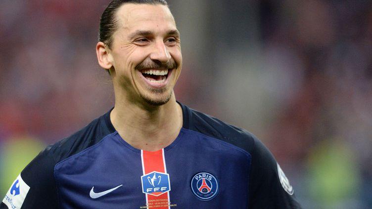 Zlatan Ibrahimovic après la victoire du PSG en finale de la Coupe de France contre l'AJ Auxerre, le 30 mai 2015, à Paris. (JEFFROY GUY / SIPA)