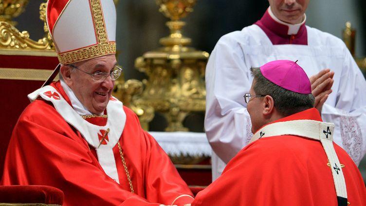 Le pape François etl'archevêque de Ribeirao Preto, Moacir Silva, le 29 janvier 2013, au Vatican. (ALBERTO PIZZOLI / AFP)