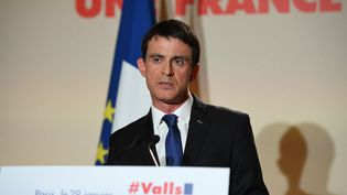 Manuel Vallsfait un discours après les résultats du second tour de la primaire de la gauche, le 29 janvier 2017 à Paris. (ERIC FEFERBERG / AFP)