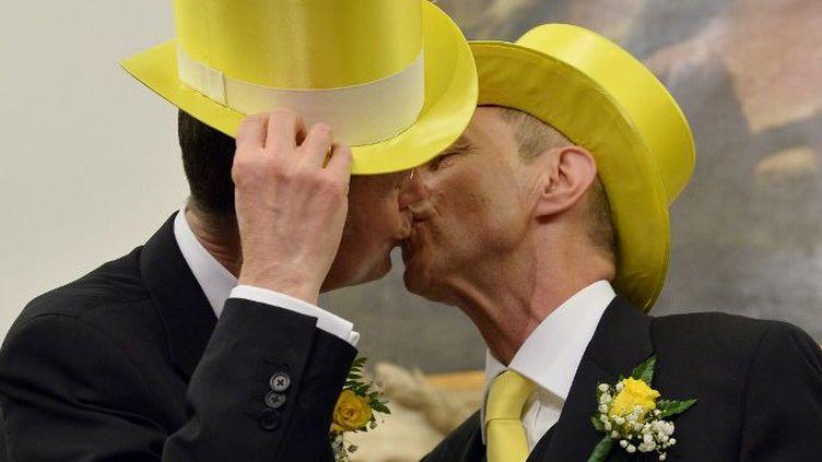 Angelo Albanesi et Giorgio de Simoni s'embrassent après avoir enregistré leur union civile à la mairie de Rome, le 21 mai 2015. (AFP PHOTO / TIZIANA FABI)