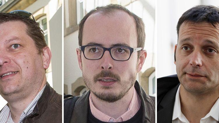Les lanceurs d'alerte Raphaël Halet (G), Antoine Deltour (C) et le journaliste Edouard Perrin (D), mis en cause dans l'affaire LuxLeaks (MAXPPP)