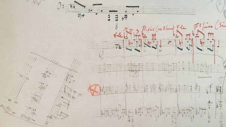 """Stravinsky : détail d'esquisse de partition pour le """"Sacre du Printemps""""  (Bibliothèque nationale de France)"""