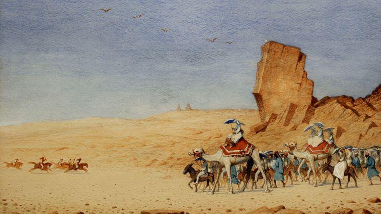 L'impératrice Eugénie en Egypte pour l'inauguration du Canal de Suez en 1869  (Souvenir de Ferdinand de Lesseps et du Canal de Suez/Lebas photographie Paris)