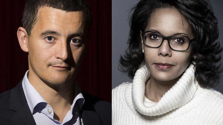 Le ministre de l'Intérieur, Gérald Darmanin, et latête de liste socialisteaux élections régionales en Ile-de-France, Audrey Pulvar. (JOEL SAGET / AFP)