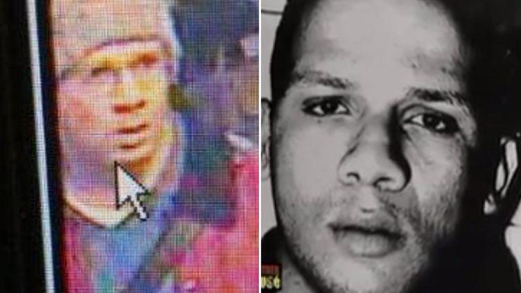 Abdelhakim Dekhar, à gauchele 19 novembre 2013 dans le métro parisien, à droite dans les années 1990. (FRANCETV INFO)