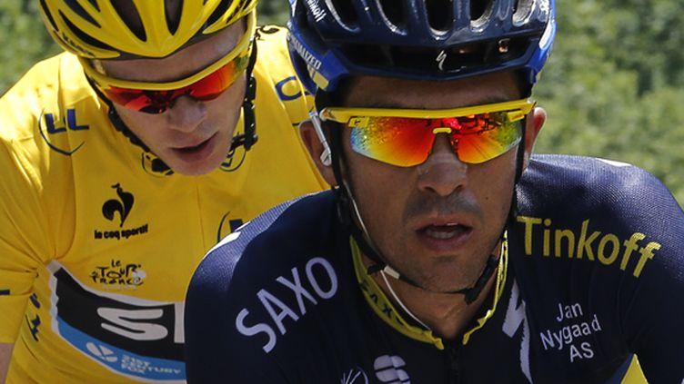 Alberto Contador croit en ses chances pour gêner Chris Froome (JEFF PACHOUD / AFP)