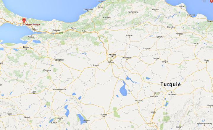 Capture écran Google Maps du quartier de Beyazit à Istanbul, le 7 juin 2016. (GOOGLE MAPS)